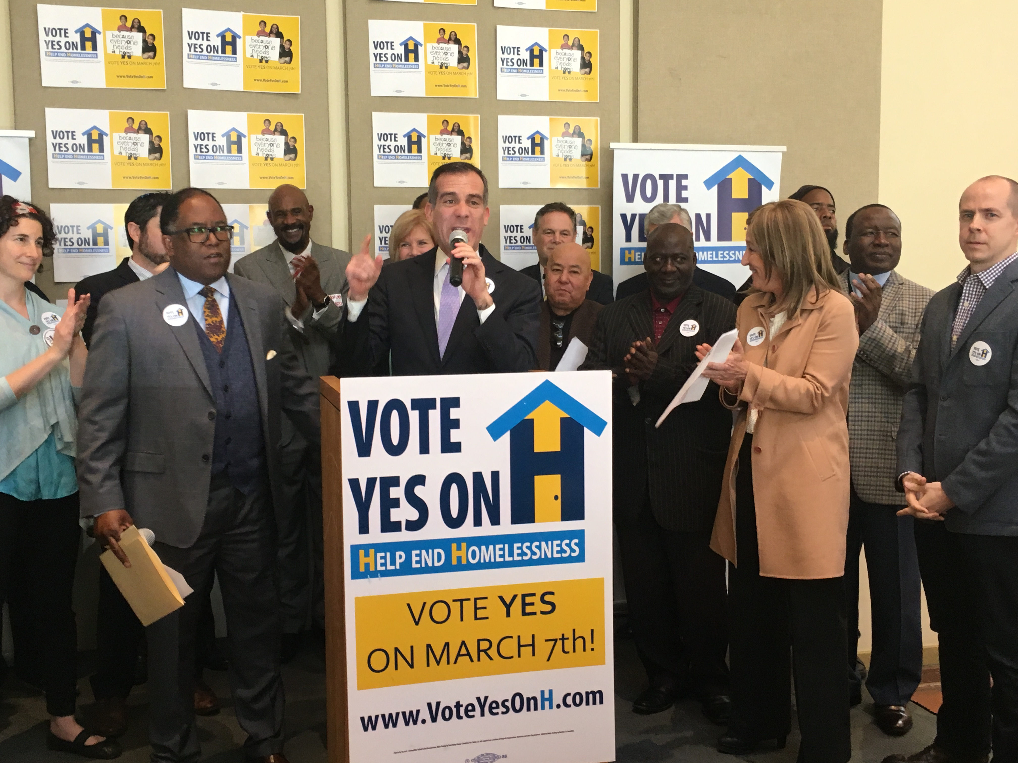 Mayor Garcetti speaks at a recent Yes on H press event.