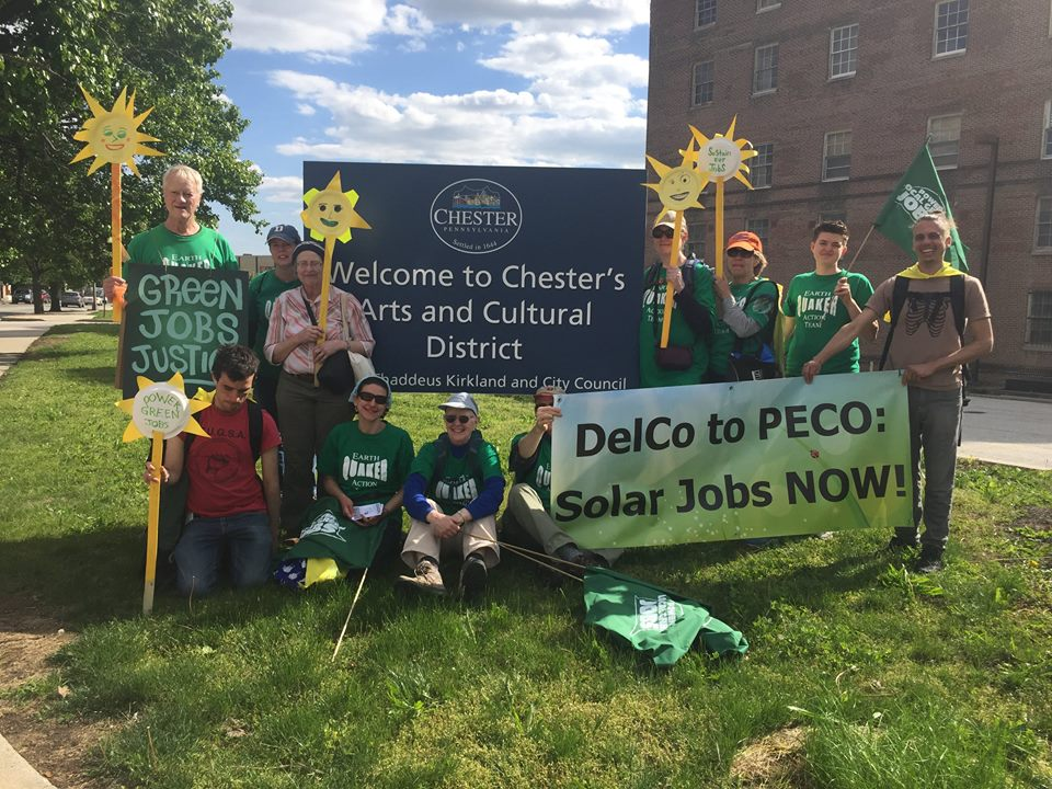 Walkers arrive in Chester, Walk for Green Jobs and Justice, May, 2017