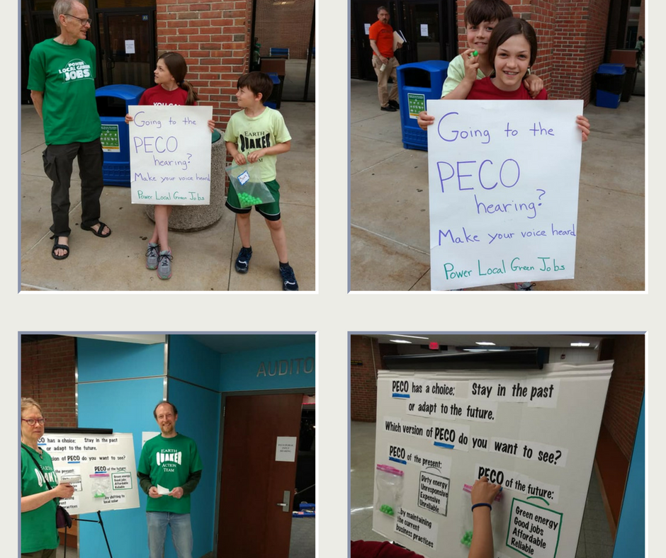 Four small photos of Power Local Green Jobs activists, including adults and children, holding signs at PECO rate hike hearings. The signs ask attenders to choose between two different PECO futures- dirty or clean, with jobs and justice.