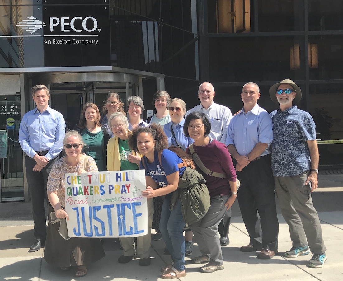 Chestnut Hill Friends Meeting worships for Local Green Jobs at PECO
