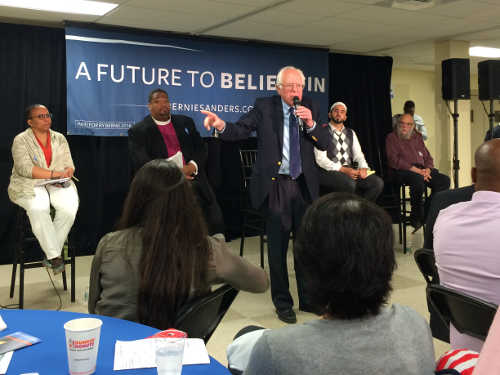 Faith Leaders on stage with Bernie Sanders