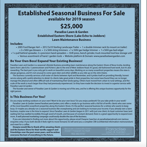 Paradise Lawn & Garden Business for Sale