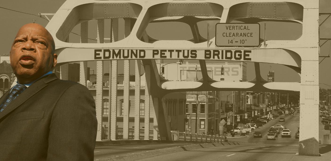 John Lewis at the Edmund Pettus bridge