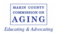 Text: Marin County Commission on Aging: Educating & Advocating