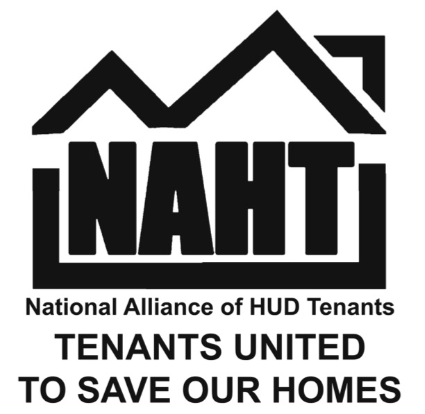 National Alliance of HUD Tenants logo: the letters NAHT in a box shaped like houses, plus text: Tenants United to Save Our Homes