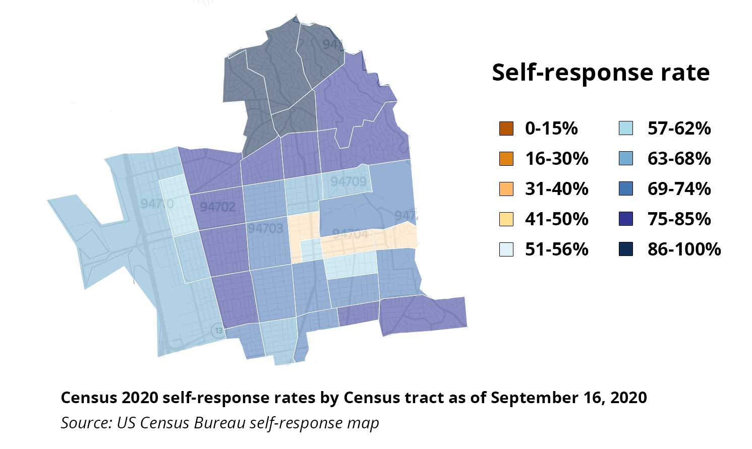 City of Berkeley Self-Response Rates as of September 16, 2020