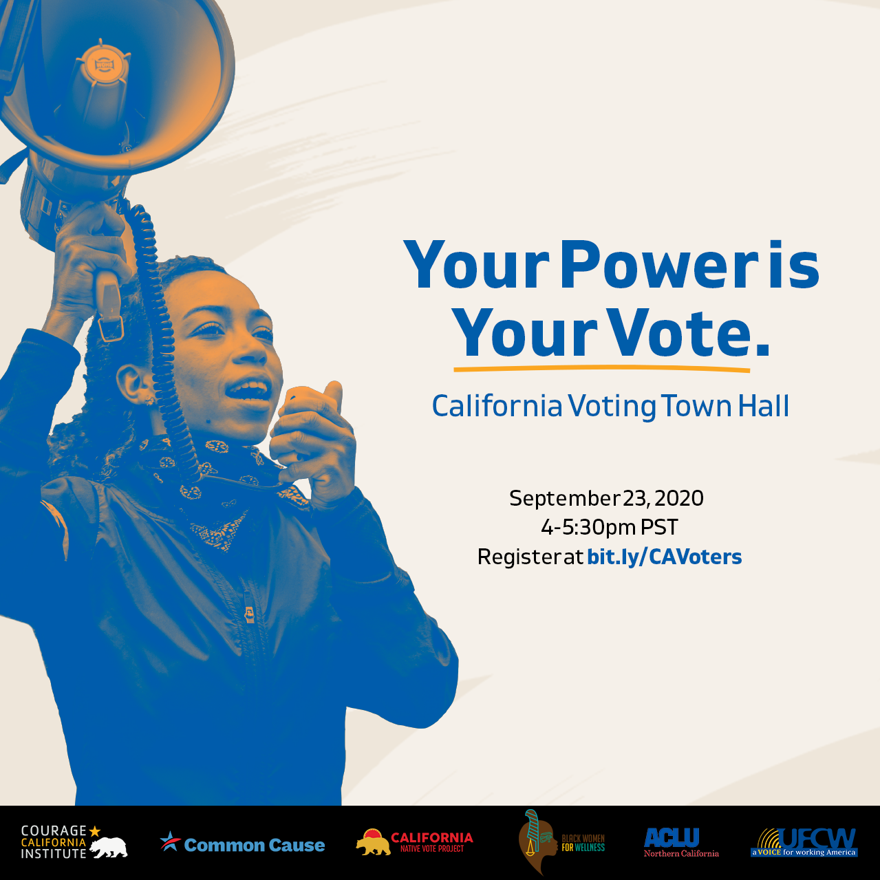Courage California:Your Power is Your Vote - California Voting Town Hall. Person holding bullhorn, speaking into it.
