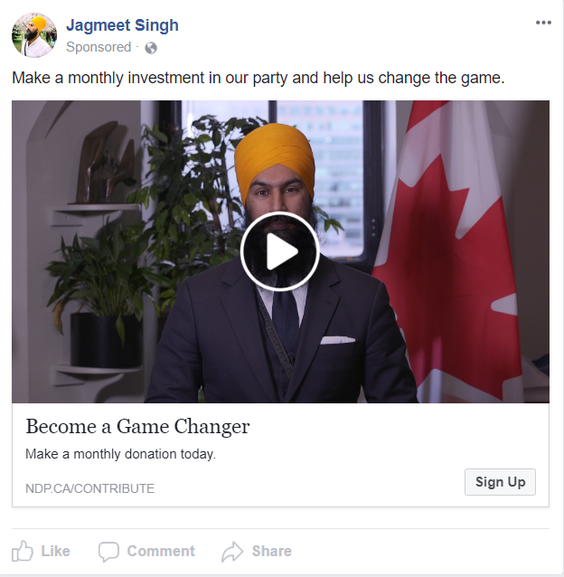 NDP Facebook Ad