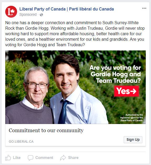 Thanks to Facebook ad transparency, you can see every single ad your competitors are running. What kind of ads are Canada's national political parties running this week? Hint: it's by-election season — Liberal Party of Canada   The Liberals are flooding the political ad market with by-election ads, primarily targeted at South-Surrey White Rock and Scarborough-Agincourt voters. Based on the number of ads devoted to just these two ridings, the Liberals clearly believe them to be winnable battlegrounds. This is one of the Liberals' new GOTV ads.    As you can tell, the Liberals are running a lot of different ads for these by-elections. They may be testing ad copy to see which converts best, or they may be targeting different ads to different audiences. If they are smart, the first ad urging people to vote is likely targeted at supporters, and this second ad is targeted at undecided voters.   This ad supporting the Liberal candidate in Scarborough-Rouge River marks the second time since the release of the ad tracker that a political party has advertised in a language other than English.  The Conservatives ran a Chinese ad for their candidate in the same riding two weeks ago, but stopped running it the following week. Will this one get better results?   You can view all of the active Liberal Party of Canada ads here. Conservative Party of Canada The Conservatives are also targeting South-Surrey White Rock and Scarborough-Agincourt with some ads, but with not nearly as many variations as the Liberals.    This is an interesting ad — I am sure they will get some honest answers.  If the goal is to actually poll the riding, it does seem odd that they are doing it with the Conservative Party logo. If the goal is to sign up supporters, I'm not convinced this is the best way to do it — but it's certainly an interesting tactic!   This is another interesting ad from the Conservatives. It's clearly a lot more aggressive than the Liberal ads, but it's also got an issue focus.  Intriguingly, they are only targeting South-Surrey White Rock with key issue ads. In fact, most of their by-election advertising is focused on South-Surrey White Rock this week—unlike last week when it was primarily focused on Scarborough-Agincourt. The above ad is designed to hit close to home for the voters of South-Surrey White Rock concerned about community safety.  The Conservative hope is that ads like this will be compelling enough to lead to new e-mail sign-ups in the riding.   Last week, we predicted that this ad would still be running this week. We were right.  It's not a surprise the ad led to new e-mail sign-ups. It is compelling, and focused on three central issues for Conservative voters. The tagline is a strong call to action.  The Conservatives are also very strong at adjusting their key issue advertising to the pertinent issues of the day. Proof below.   You can view all of the active Conservative Party of Canada ads here. New Democratic Party The NDP are actually running ads this week! And split-tests, too! Maybe they've been reading our blog. No sign of by-election advertising though, so don't count on an NDP upset in any of the contested ridings.    This is one of two key issue ads the NDP is running. It is decently compelling, and should resonate with their supporters. It should encourage NDP fans that the Party is now asking for e-mail sign-ups in a smart way. They've got a lot of ground to cover before they're anywhere close to the two main parties' social media ad game, but this is a small step forward.  Progress, if you will.  Note: the NDP is running a test of the same ad in French—the first ad in the language since the advent of the ad tracker three weeks ago.       Last week, this ad was running on NDP Leader Jagmeet Singh's Facebook page. Now it is on the NDP's page.  Unfortunately for Singh and the NDP, it doesn't matter which page it's on. It's still a weird call-to-action. At a time when the Party has a new leader and needs to grow quickly, the NDP is perplexingly asking for volunteers rather than supporters. The people likely to volunteer have probably already given their e-mail address. What the NDP should be doing is running more key issue, or introductory ads that ask people for their e-mail addresses. They've got to start building a huge list of supporters so they can get their fundraising on track and challenge the Liberals and Conservatives in the next election. Need help with your Facebook advertising campaign? We've managed massive advertising spends for clients like the Maxime Bernier, Jason Kenney, and the Conservative Party of Canada. Get in touch today! *You can see Justin Trudeau's ads here. You can see Andrew Scheer's ads here. You can see Jagmeet Singh's ads here.