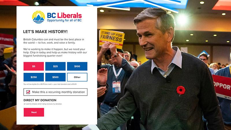 Original BC Liberal Donation page design by testerdigital