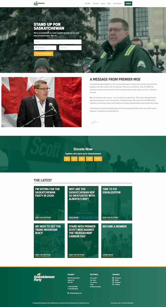 Screenshot of Saskatchewan Party Homepage