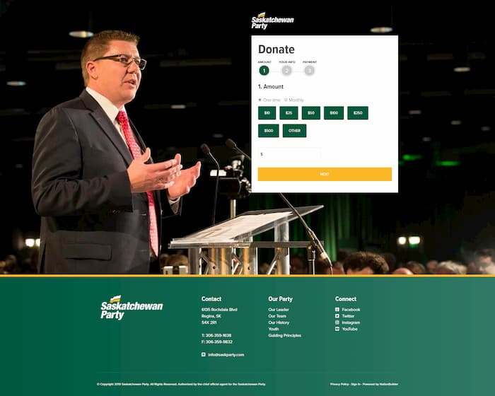 Image of the Saskatchewan Party donation page