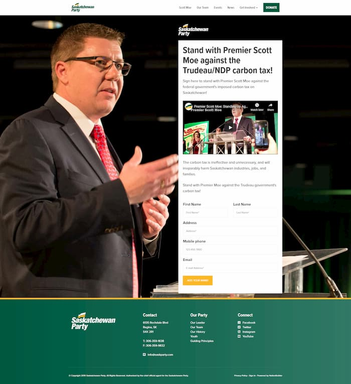 Image of petition page, Saskatchewan Party website