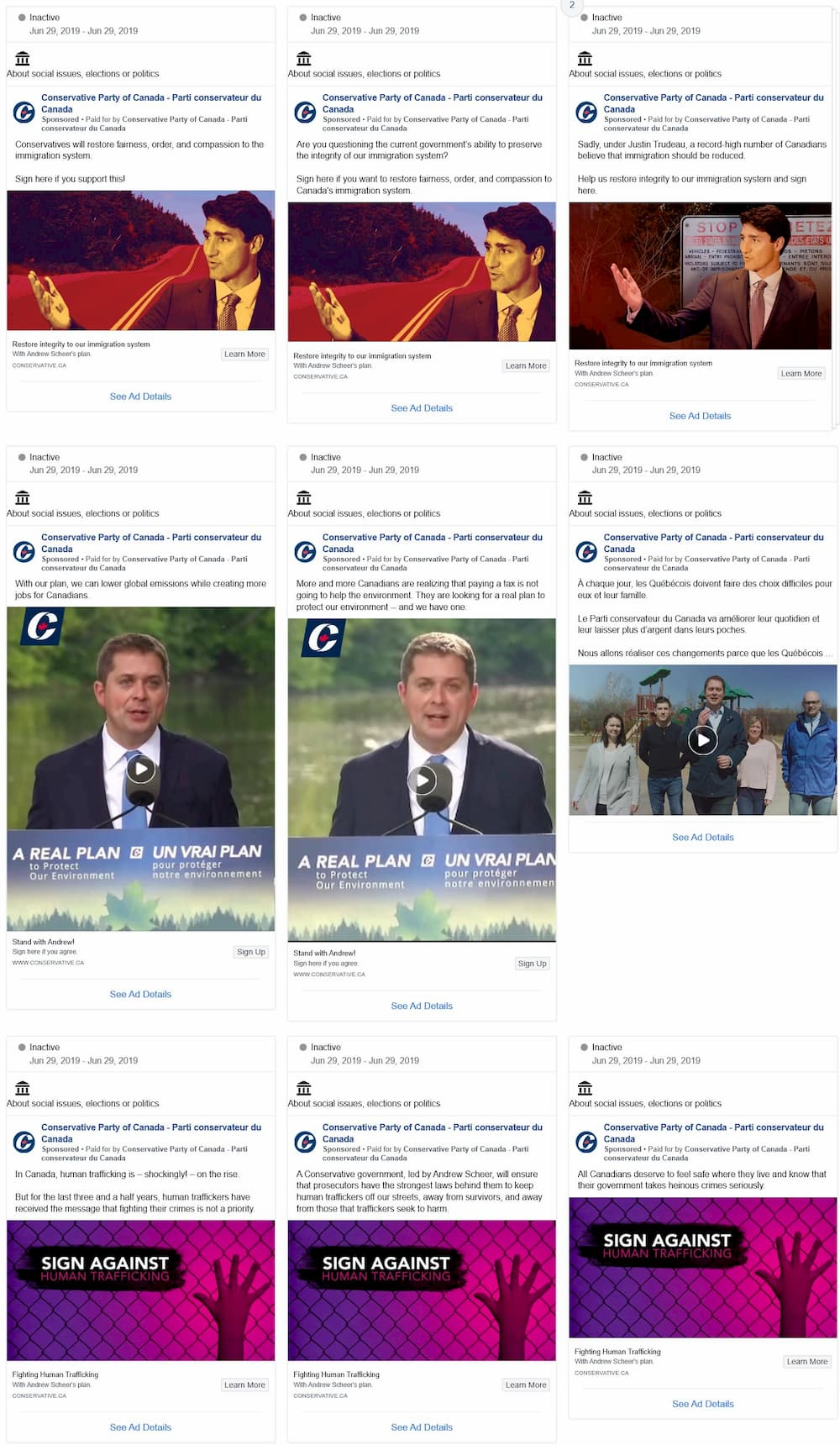 Conservative Party Facebook Ads