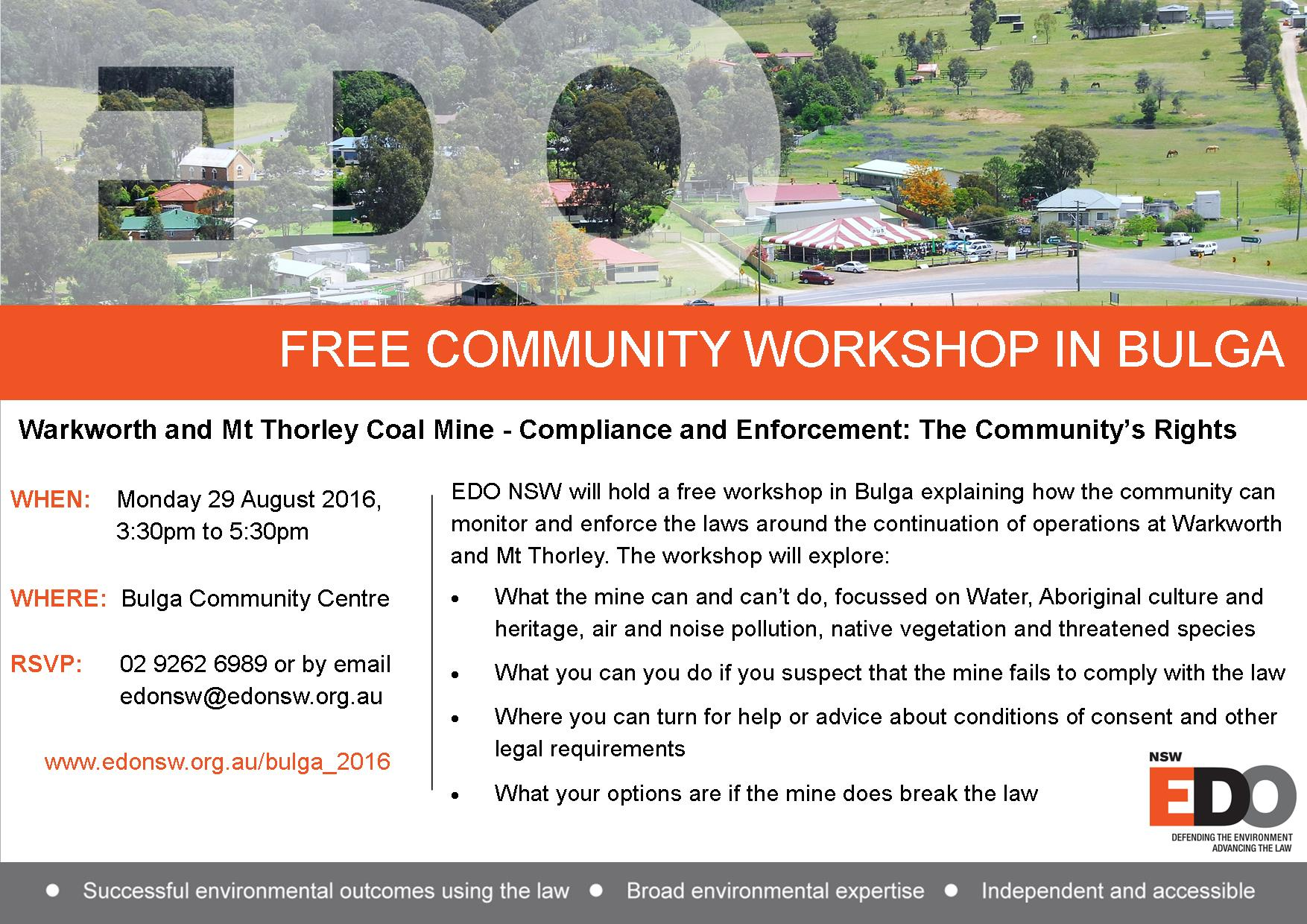 Flyer for workshop in Bulga