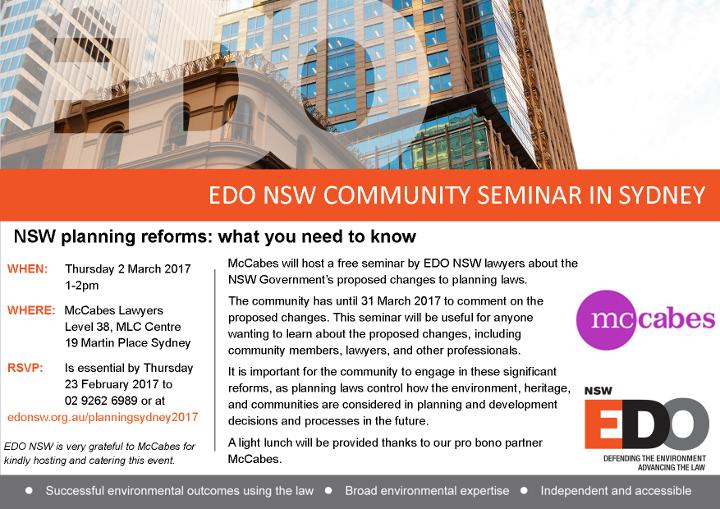 Flyer for Sydney Planning Seminar 2017