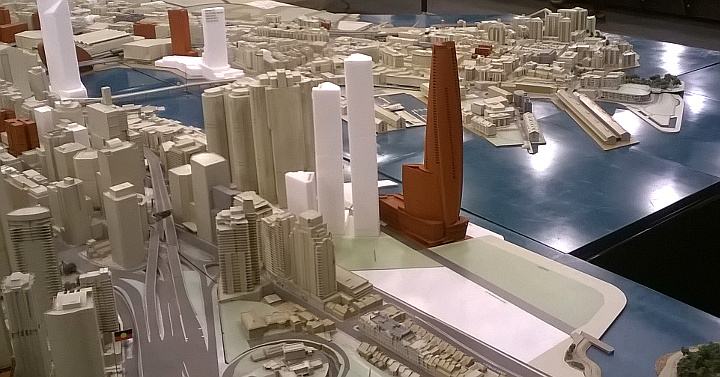 Barangaroo model showing casino building