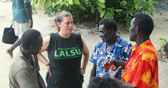 EDO NSW's Elaine Johnson meets with community members in the Solomon Islands