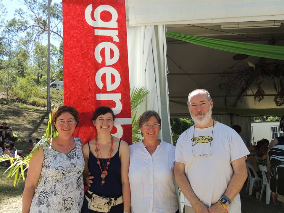 EDO Qld's Jo Bragg, GREENHouse organiser Tilly Hinton, Margie Barram and Peter Marquis-Kyle.