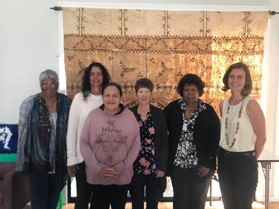 EDO Qld senior solicitor Revel Pointon here with Aunty Lillian Burke, Aunty Sandra Page, Aunty Bronwyn de Satge, Aunty Shirley Blake and Gemma Cronin.