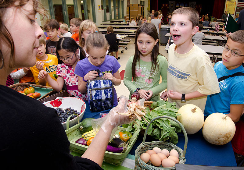 Kids learning to eat healthy lunches