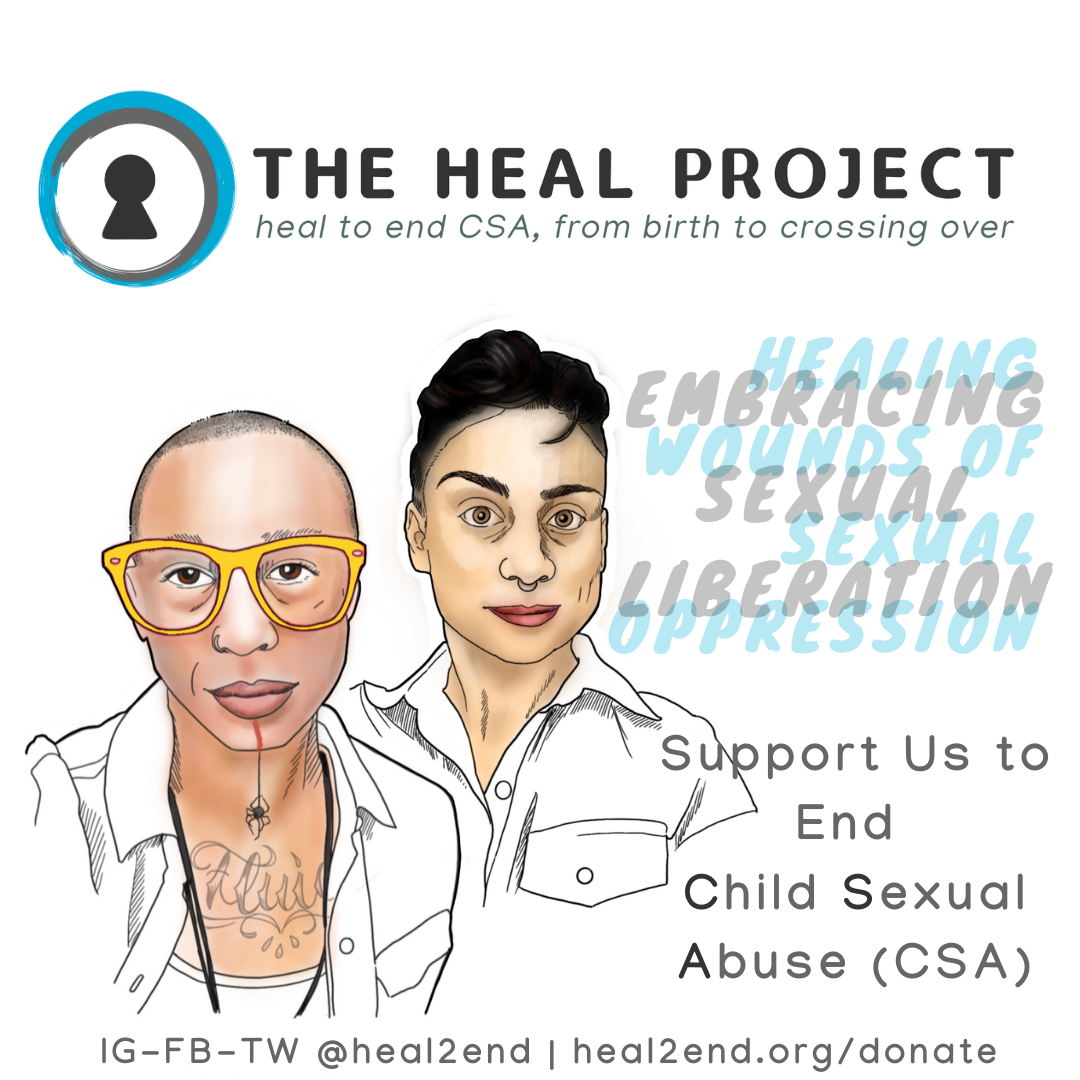 The HEAL Project logo with portraits of Ignacio Rivera and Aredvi Azad