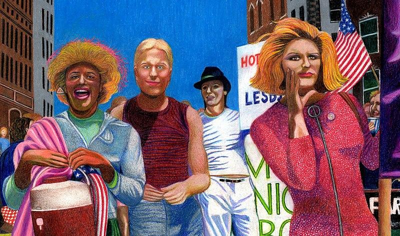 Portrait of Marsha P. Johnson, her boyfriend, Joseph Ratanski, and Sylvia Rivera in the 1973 NYC Gay Pride Parade drawn by Gary LeGault.