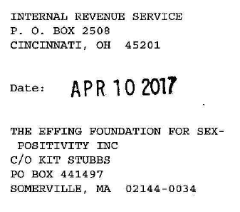 Letter from IRS to the Effing Foundation