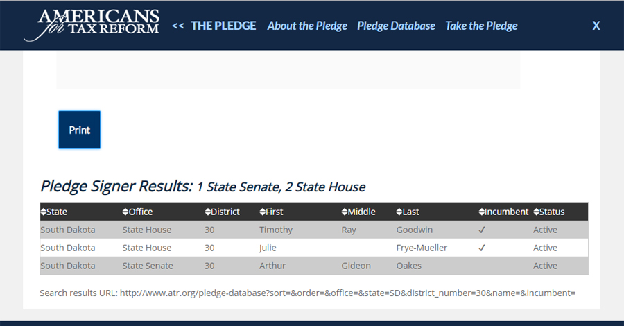 Screenshot of Americans for Tax Reform pledge signers from District 30