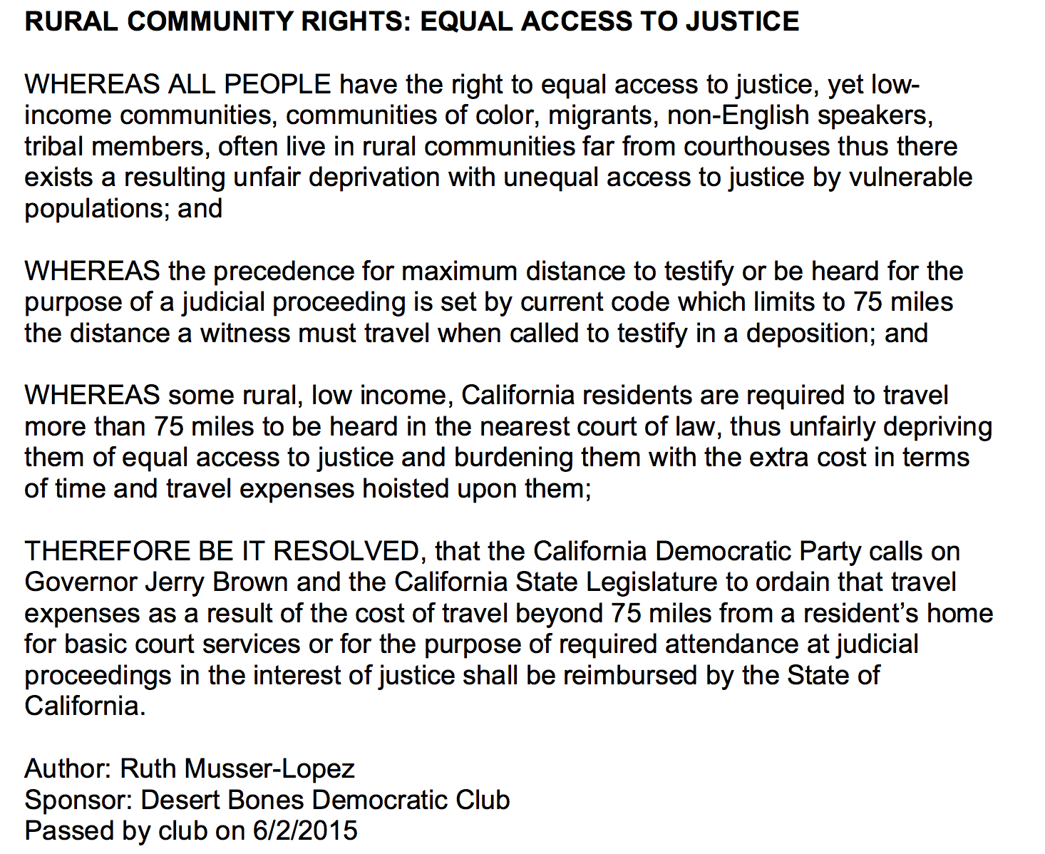 Equal Access to Justice Resolution by Ruth Musser-Lopez