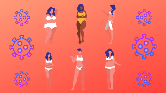 Two rows of three stylized images of women of different body sizes and skin tones flaked by stylized representations of coronaviruses