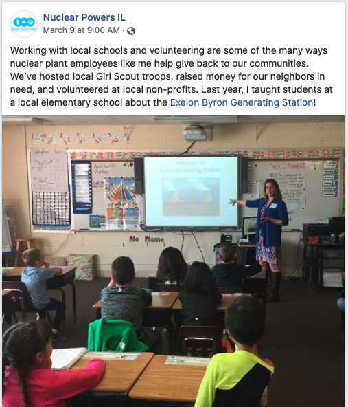 Dorothy Wallheimer Facebook post about working with local school