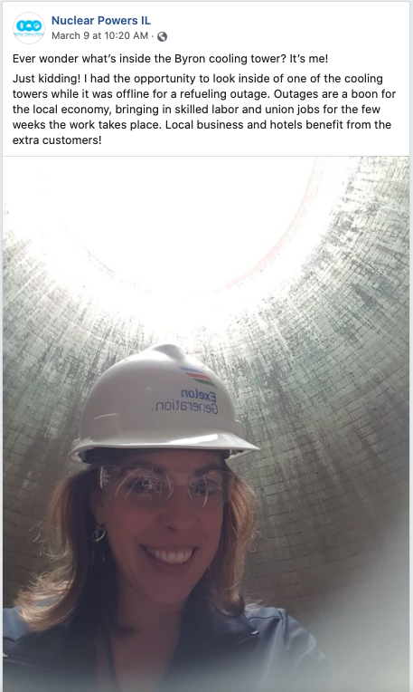 Dorothy Wallheimer Facebook Post About Inside of Cooling Tower