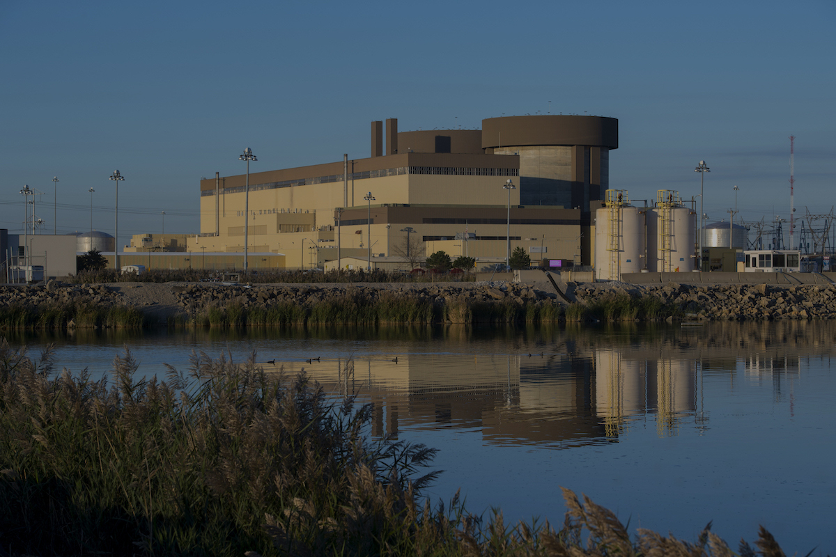 A side view of Braidwood Generating Station, a nuclear power plant
