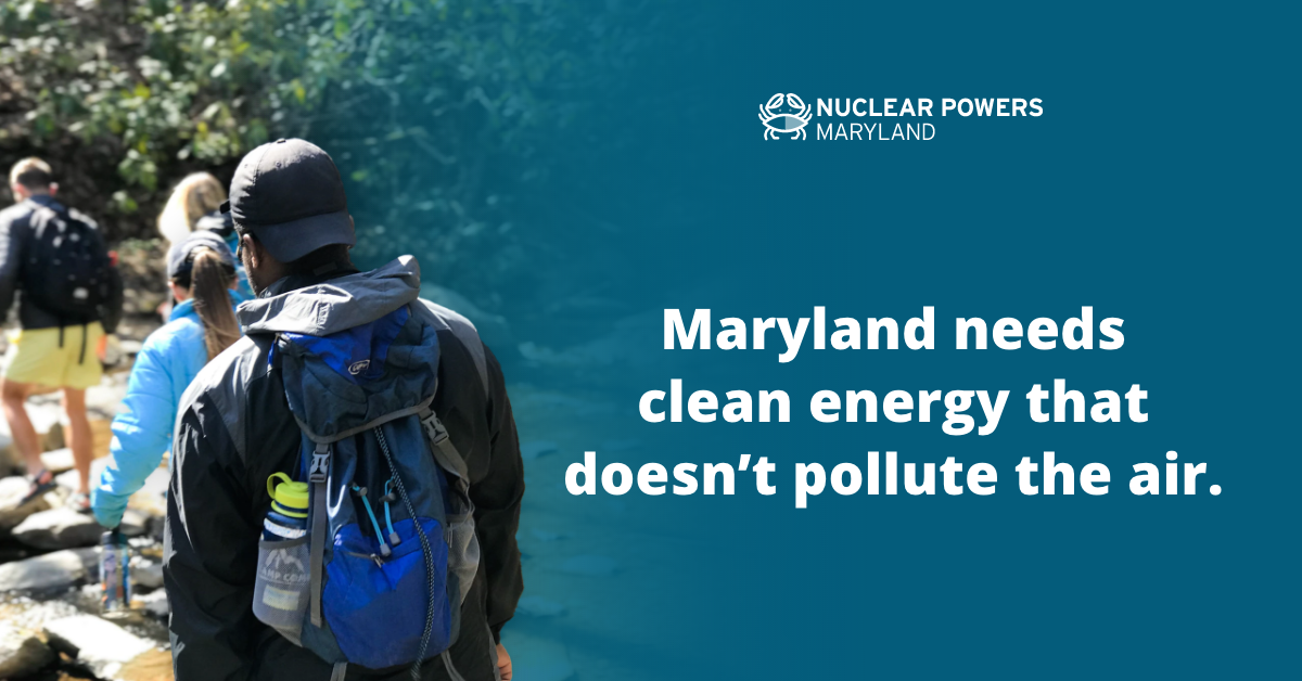 Maryland needs clean energy that doesn't pollute the air next to group hiking