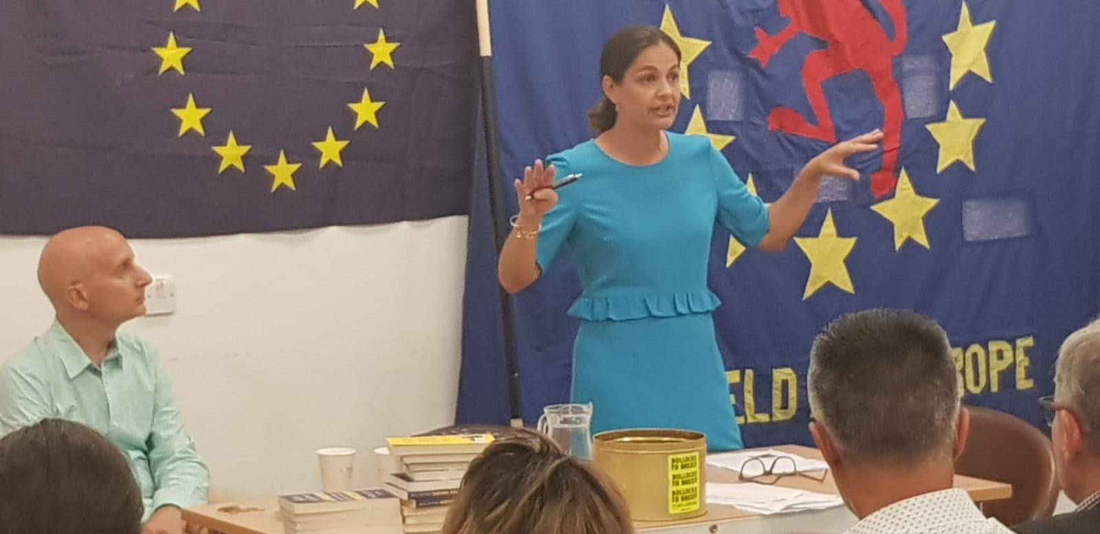 Siobhan Benita addressing a public meeting in Enfield alongide Lord Adonis