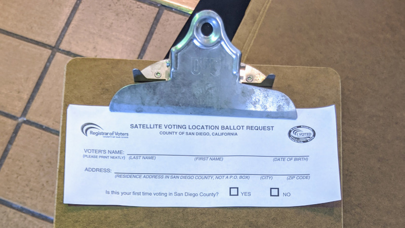 San Diego County Satellite Voting Location Ballot Request Form