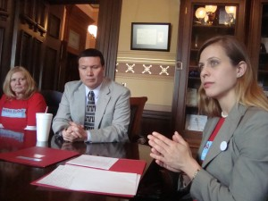 Sarah Mullkoff leads legislative meeting.