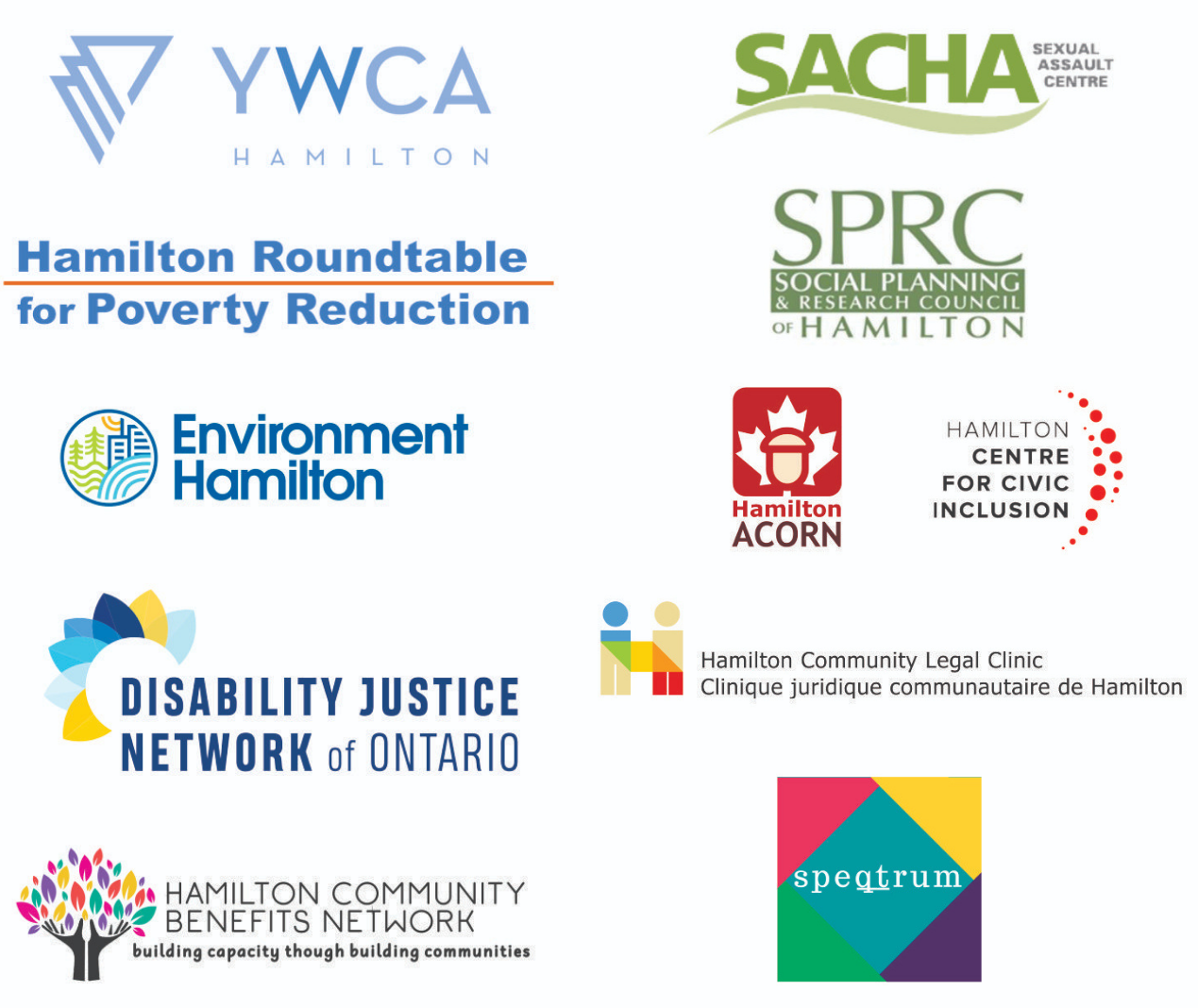 The logos of the Just Recovery Hamilton coalition members