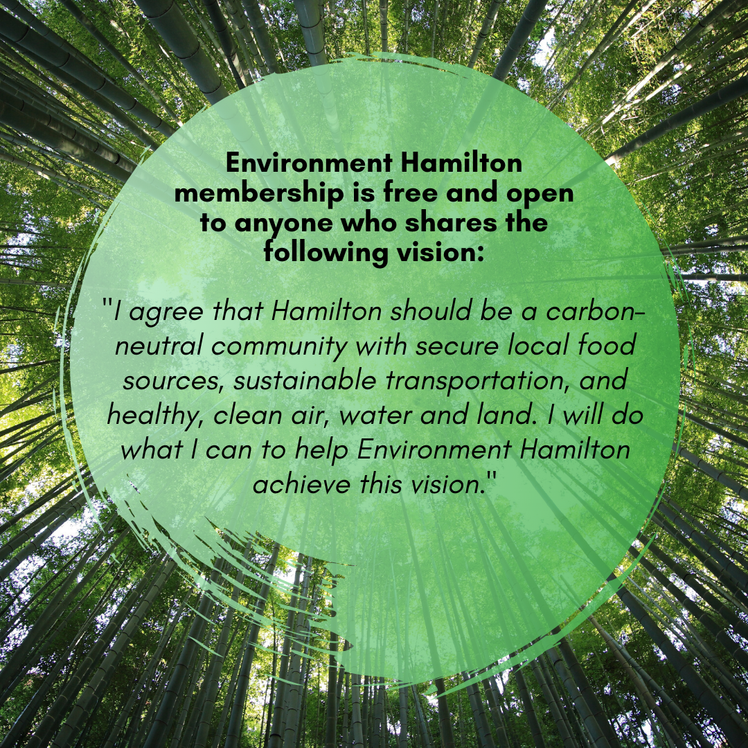 Environment Hamilton membership is free and open to anyone who shares the following vision:  I agree that Hamilton should be a carbon-neutral community with secure local food sources, sustainable transportation, and healthy, clean air, water and land. I will do what I can to help Environment Hamilton achieve this vision.