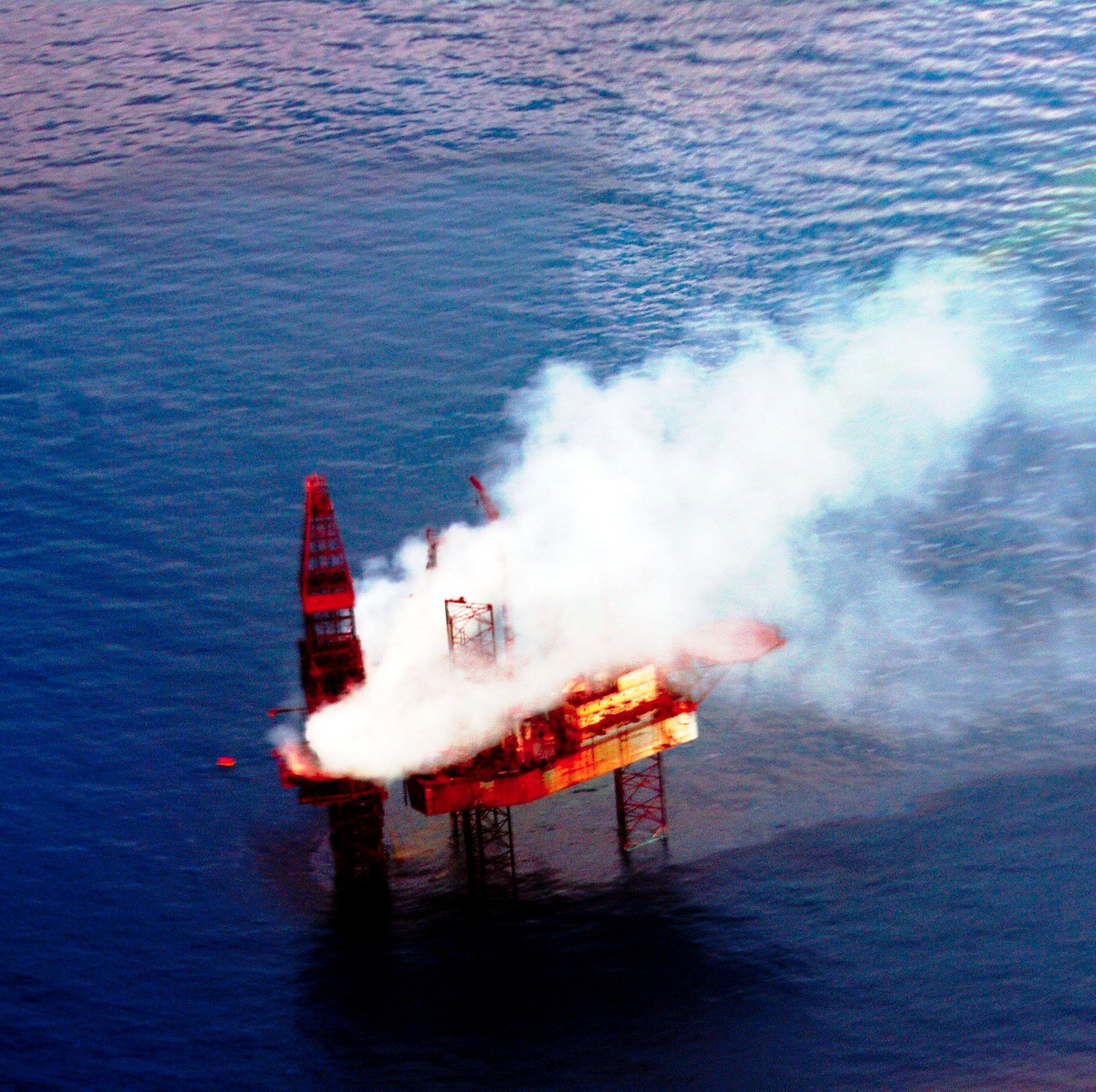 Montara oil rig on fire off Kimberley coast