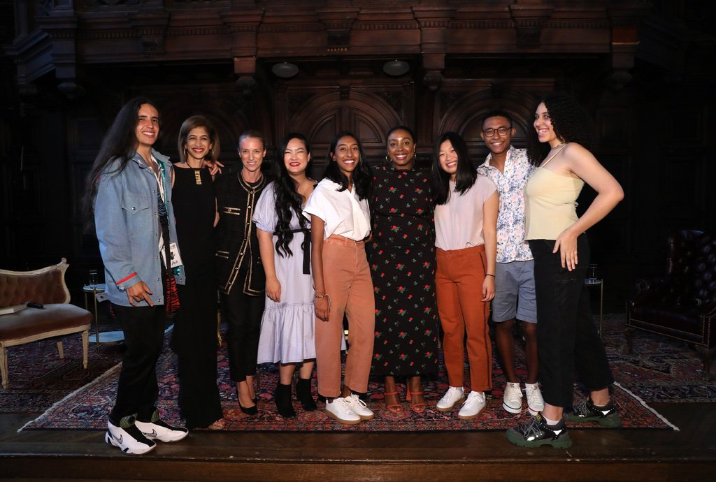 Youth activists at Gucci & Equality Now event with moderator Lindsay Peoples Wagner