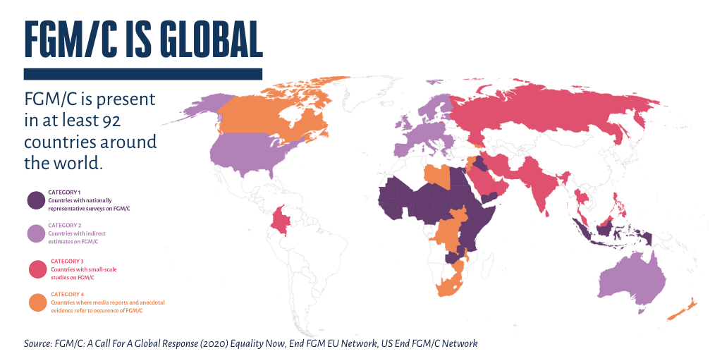Map showing countries where there is evidence of FGM across the world