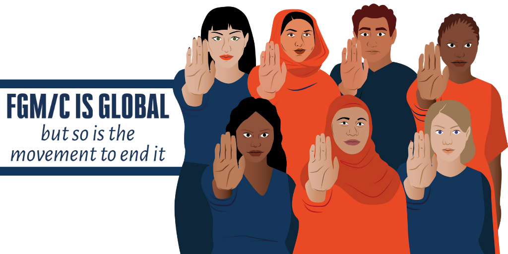 Image showing an illustration of a number of people with one hand held up in front of them, with text FGM is global but so is the movement to end it