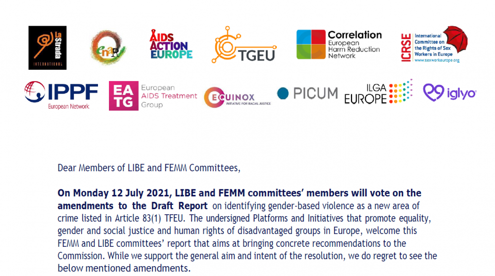EUROPEAN PARLIAMENT: MEMBERS REJECT AMENDMENTS THAT WOULD OUTLAW SEX WORKERS' ABILITY TO CONSENT