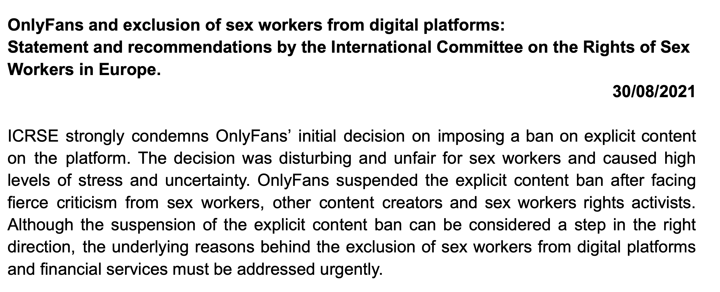 ICRSE STATEMENT REGARDING ONLYFANS' EXPLICIT CONTENT BAN AND THE EXCLUSION OF SEX WORKERS FROM DIGITAL PLATFORMS
