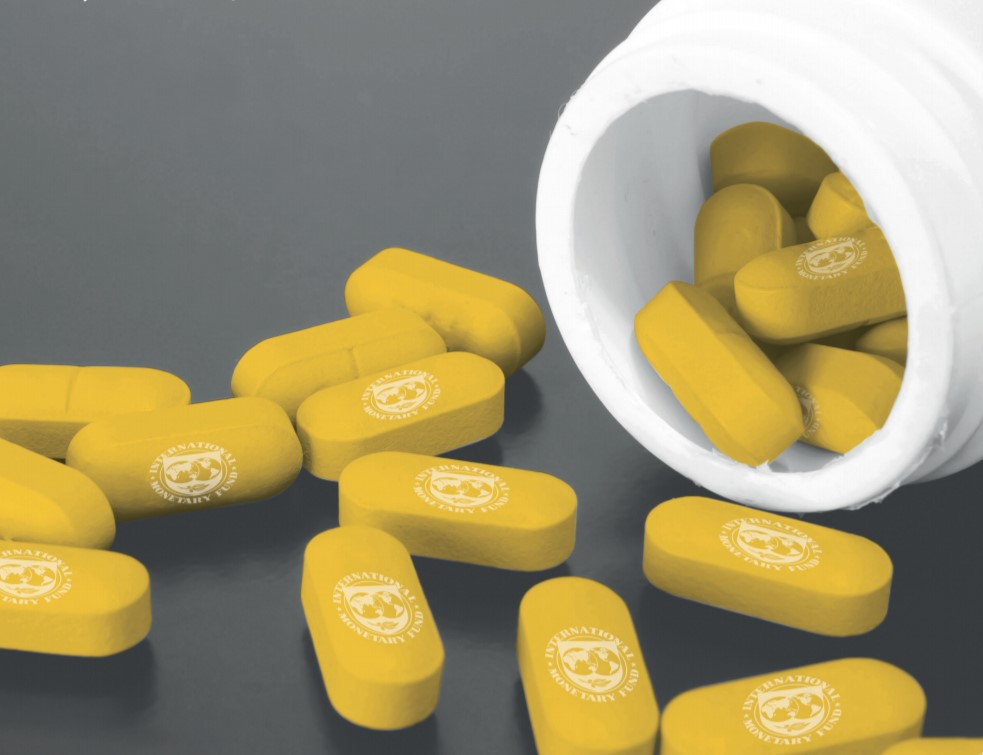 Yellow tablets displaying the logo of the International Monetary Fund