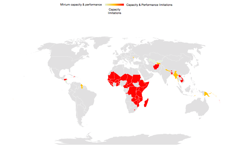 World map with sample LIEs identified showing 'Presence of health care system capacity and performance limitations in LIEs'