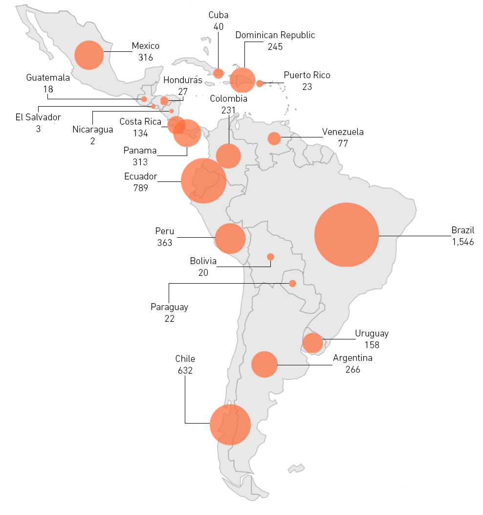 Map of Covid-19 cases in Latin America as of 22 March 2020