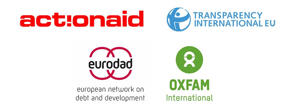 Logos of participating organisations: ActionAid, Transparency International, Eurodad, Oxfam International